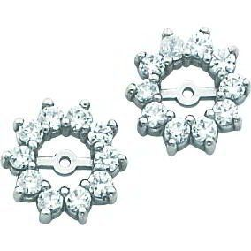 14k White Gold Moissanite Earring Jackets Findingking 394 99