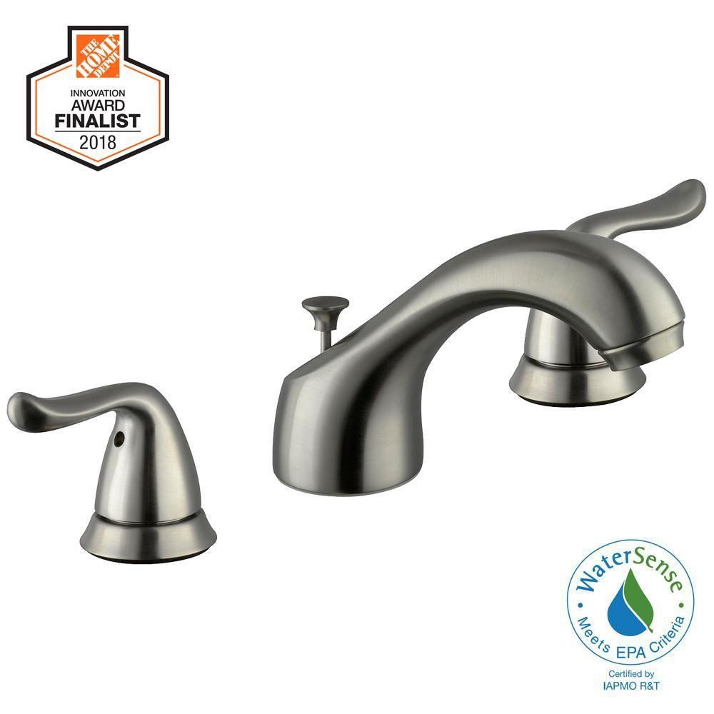 Glacier Bay Constructor 8 In Widespread 2 Handle Low Arc Bathroom Faucet In Brushed Nickel Bathroom Faucets Faucet Brushed Nickel Faucet