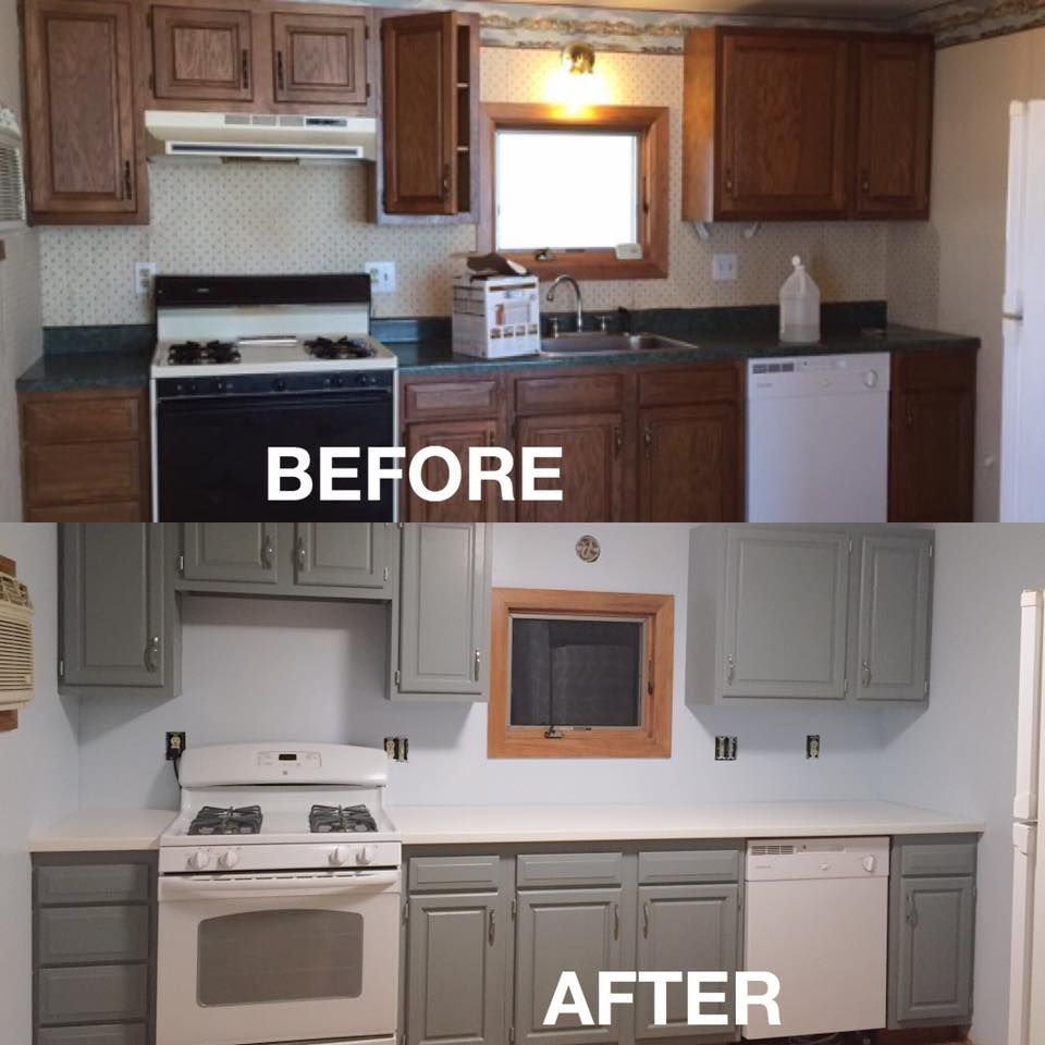 Rustoleum Cabinet Transformations Remodel Repaint Seaside Grey Before And A Interior Design Kitchen Small Laminate Kitchen Cabinets Refacing Kitchen Cabinets