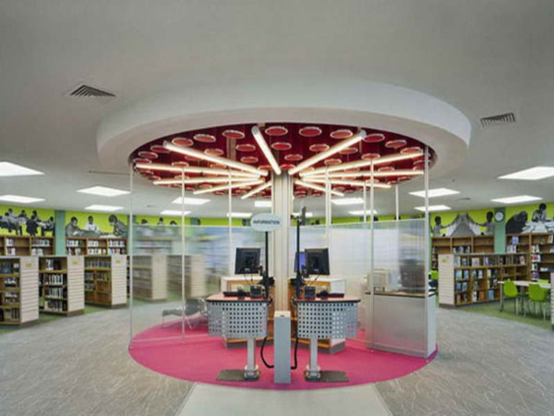 Public Library Interior Design With Pink Carpet School Library