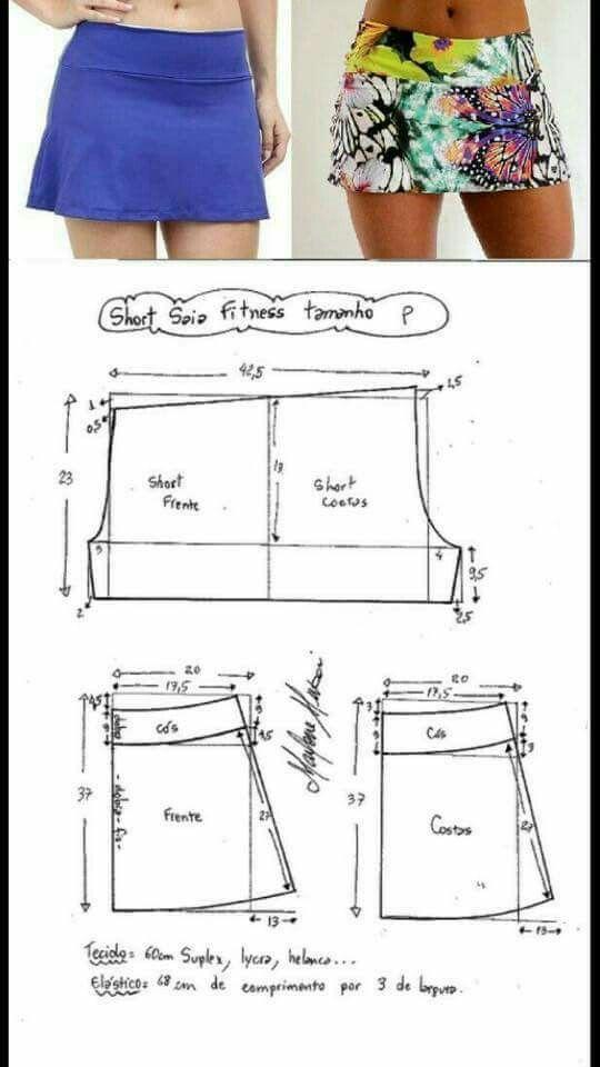 Patrones para falda-short | Costura GYM | Pinterest | Costura, Ropa ...