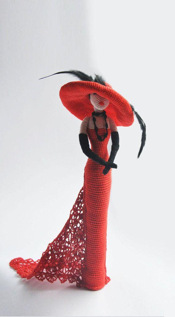 Cloth doll, Crochet doll, Rag doll, Amigurumi doll, Lady in red doll, gift idea for girl and mom, ooak doll