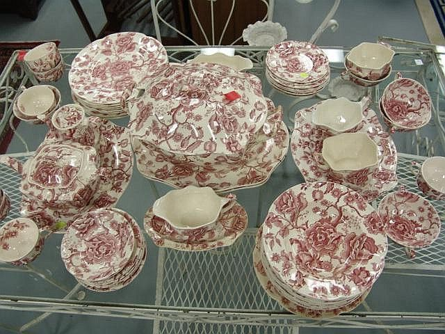 Johnson brother china dinnerware set red and white Chippendale pattern including a tureen & Johnson brother china dinnerware set red and white Chippendale ...