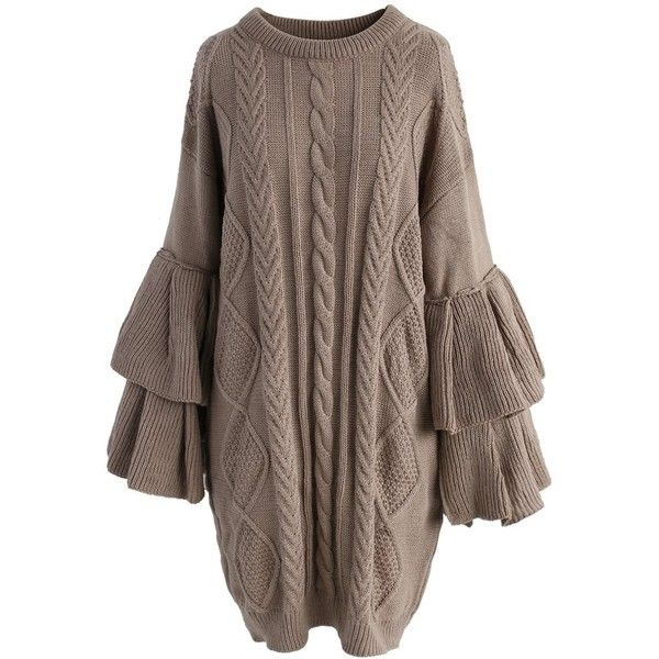 Chicwish Cable Knit Sweater Dress with Tiered Flare Sleeves ($68 ...