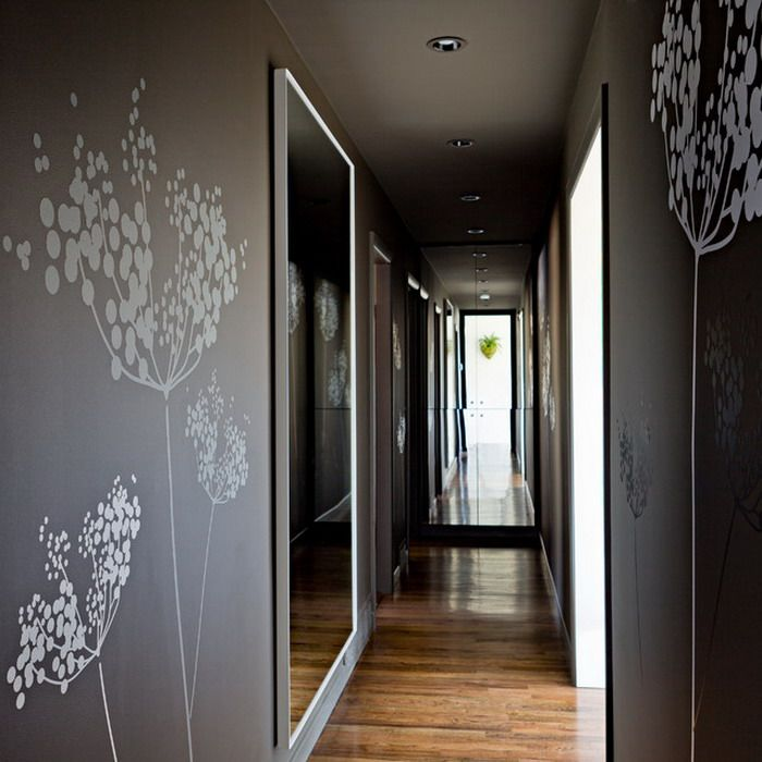 White tree murals in contemporary hall wallpaper mural for Wall design in hall