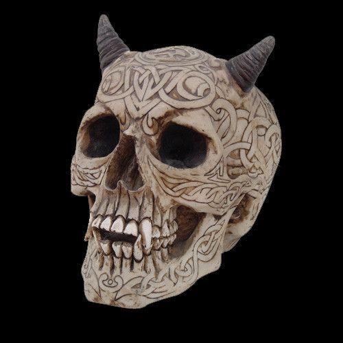 Demon Skull Head Figurine Statue Halloween Decor Tattoo Celtic Knot Horn Skull