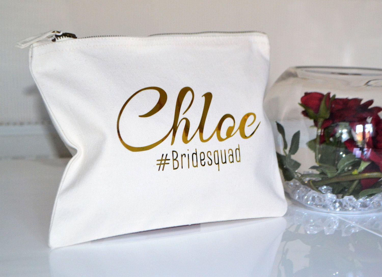 Bridesmaid gift makeup bag, wedding favors, bridesmaid gift, Cream ...
