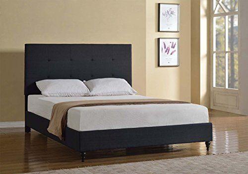 Home Life Cloth Black Linen Platform Bed With Slats Complete Bed