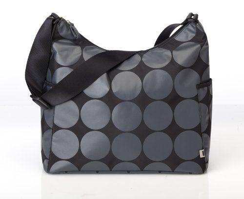 OiOi Bolso cambiador con forro y accesorios color negro y plateado acabado acolchado