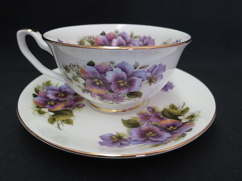 Pansy Cup Saucer Fine Bone China Made by Sheltonian England