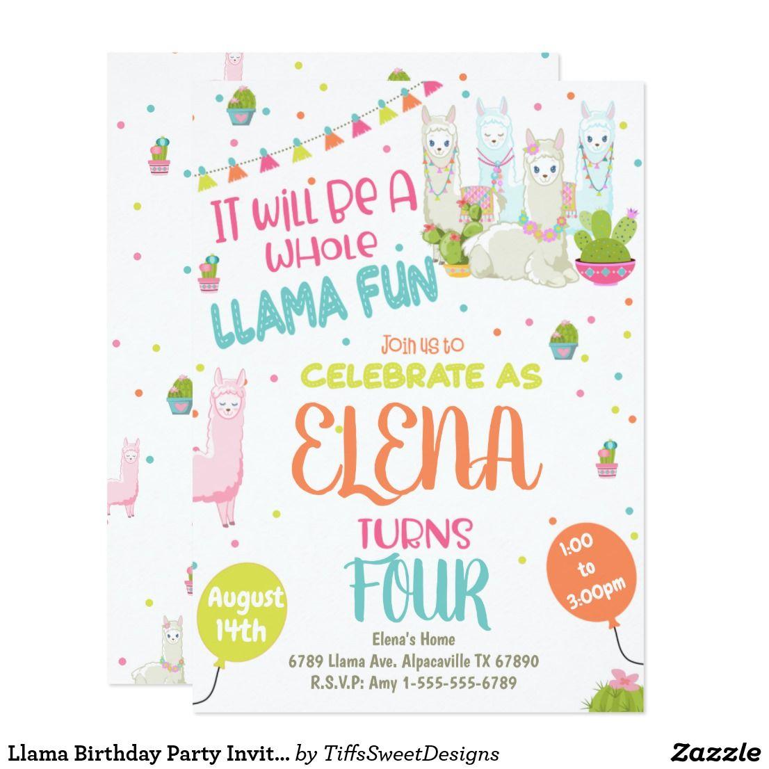 Llama Birthday Party Invitation Alpaca Party | Kids 2-12 Birthday ...
