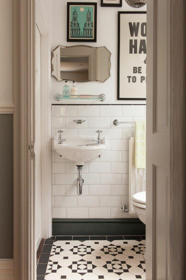 Salle De Bain Annees 50 Carreaux Ciment Vasque Suspendue Miroir Biseaute Affiches Vintage