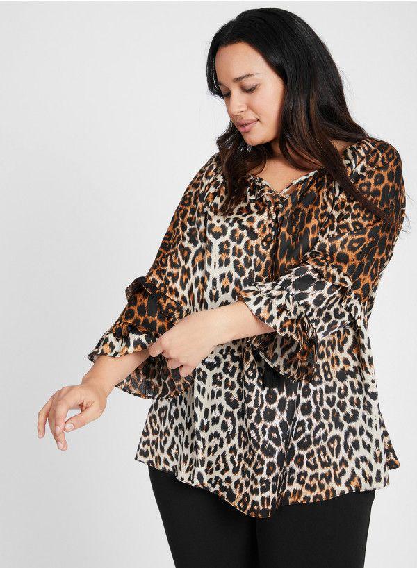 2ae251837b8 Satin Boho Top in  leopard by Anna Scholz -  PlussizeDesigner  plussize   plussizefashion