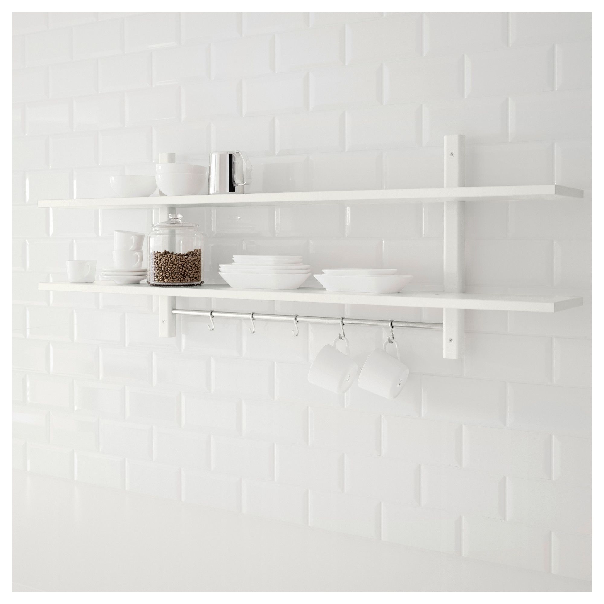 VÄRDE white, Wall shelf with 5 hooks, 140x50 cm IKEA