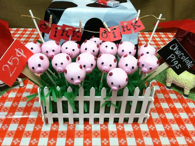 Piggy cake pops. Love the presentation!!