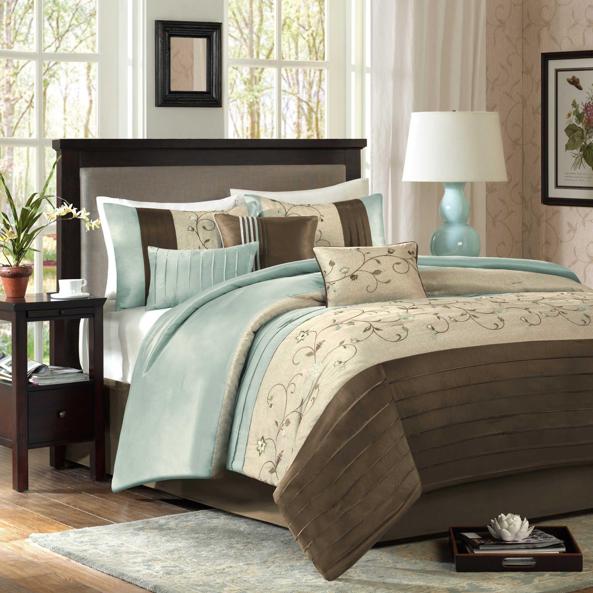 Madison Park Serene 7 Piece Comforter Set Comforter Sets Blue