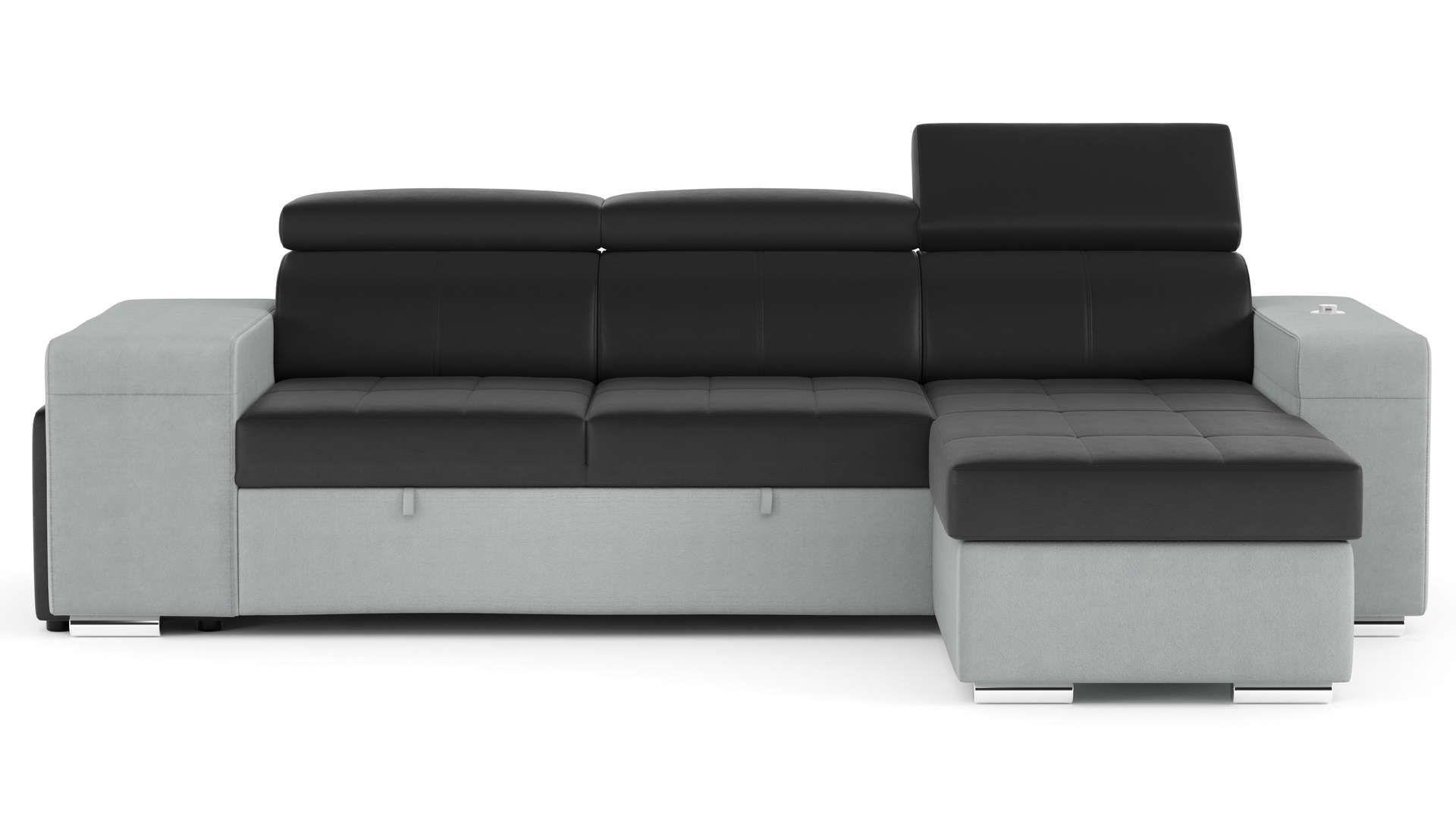 Canape D Angle Convertible Et Reversible 4 Places En Cuir Tissu Harold Coloris Noir Gris Canape Angle Convertible Canape Angle Et Lit Confortable