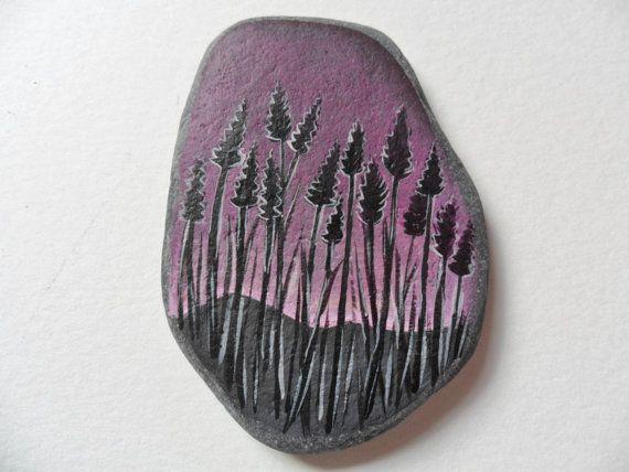 Sunrise lavender Original acrylic miniature by ShePaintsSeaglass