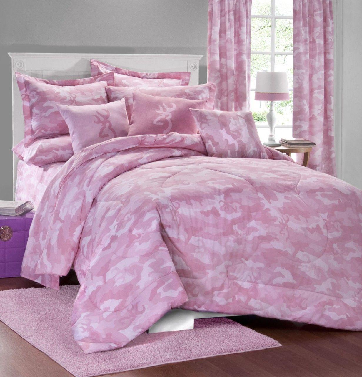 Camo Beds Browning Buckmark Camo Pink 7 PC Comforter Set