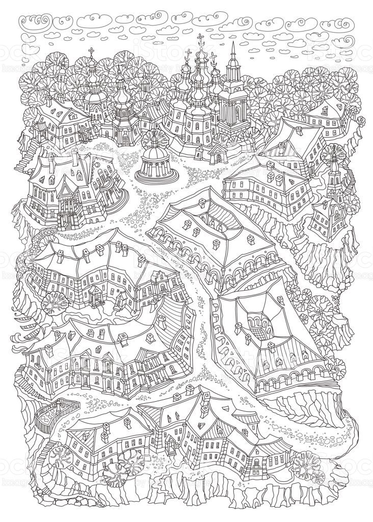 Vector Humorous Black And White Outline Contoured Fantasy Landscape Black And White Posters Fantasy Landscape Coloring Book Pages