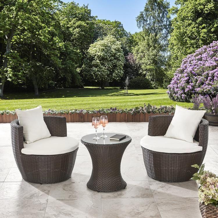 2 Seater Rattan Egg Chair Dining Bistro Set In Black Garden