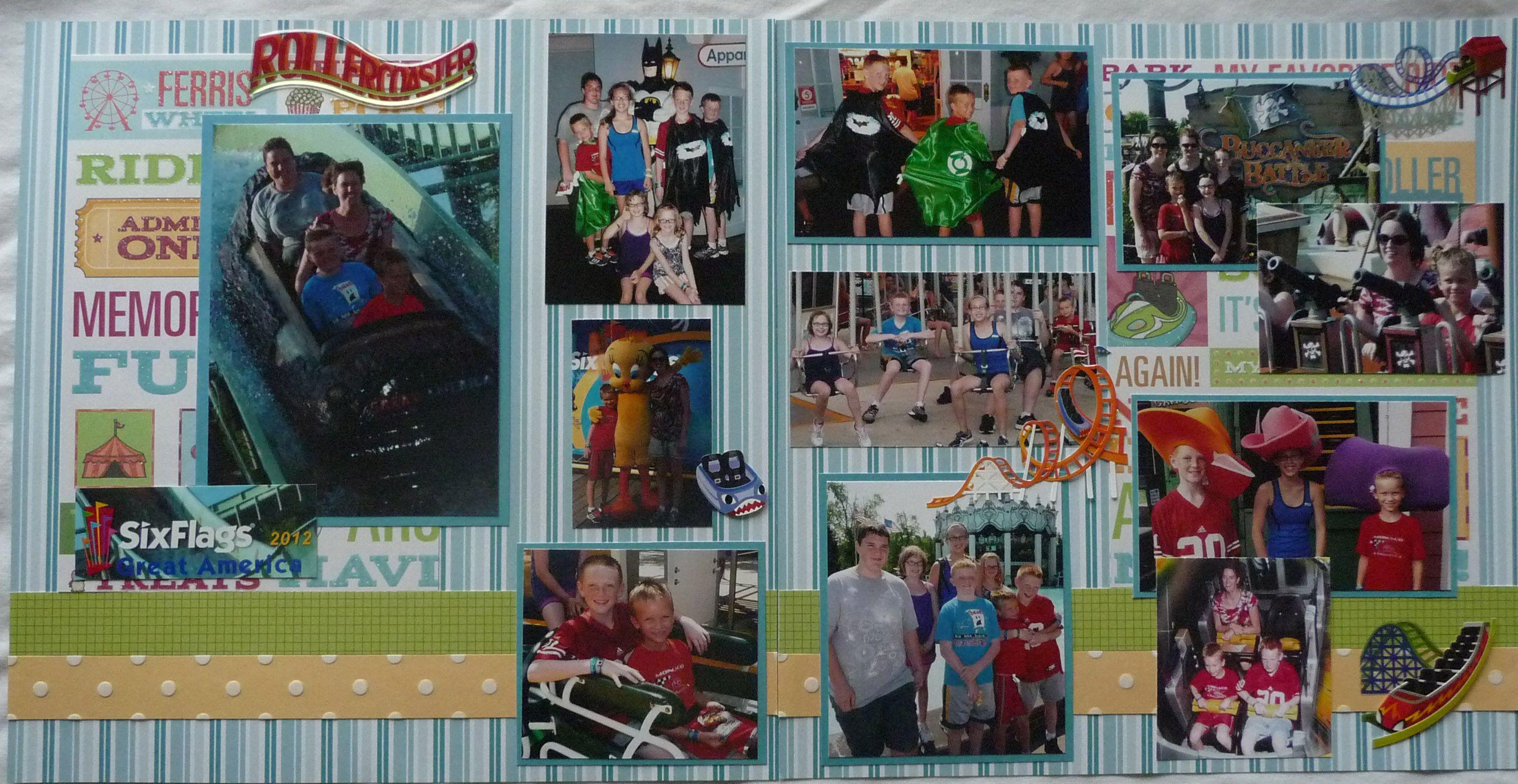 Six Flags Amusement Park Scrapbook Page Kit
