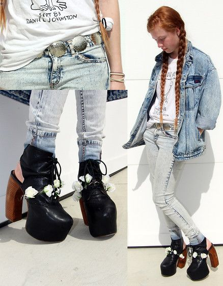 Get Down On It (by Olivia and Gianna Aquilina) http://lookbook.nu/look/4779367-Love-Jean-Daniel-Johnston-Tee-More-Jeffrey-Campbell