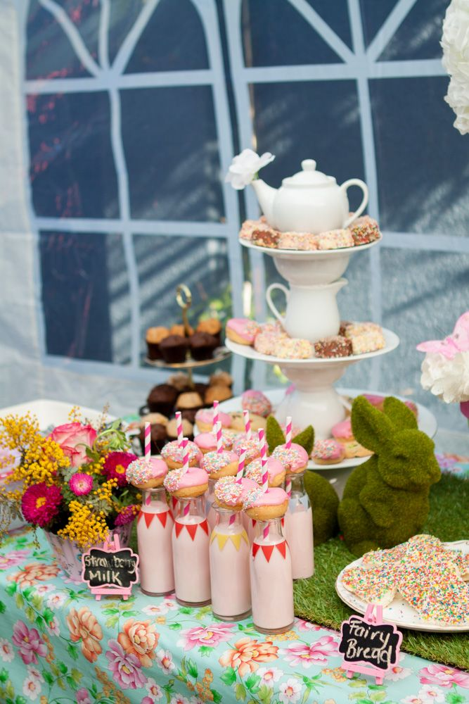 strawberry milk u0026 donuts in retro jars - Garden party table setting (cake table/dessert table/lolly bar) for my daughter Mayau0027s first birthday (styled by ... & strawberry milk u0026 donuts in retro jars - Garden party table setting ...