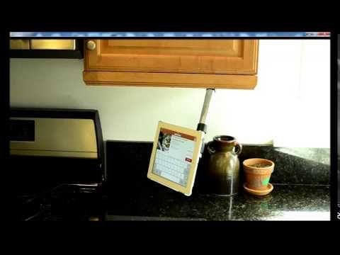 Kitchen Cabinet Stowaway Tablet Mount. #tablet #ipad #kitchen #mount #gadget