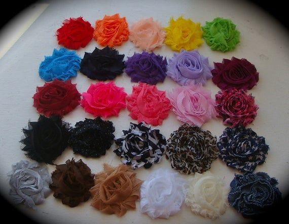 10 Super cute 2 and a half inch shabby chic rosette hair clips #shabbychicheadbands