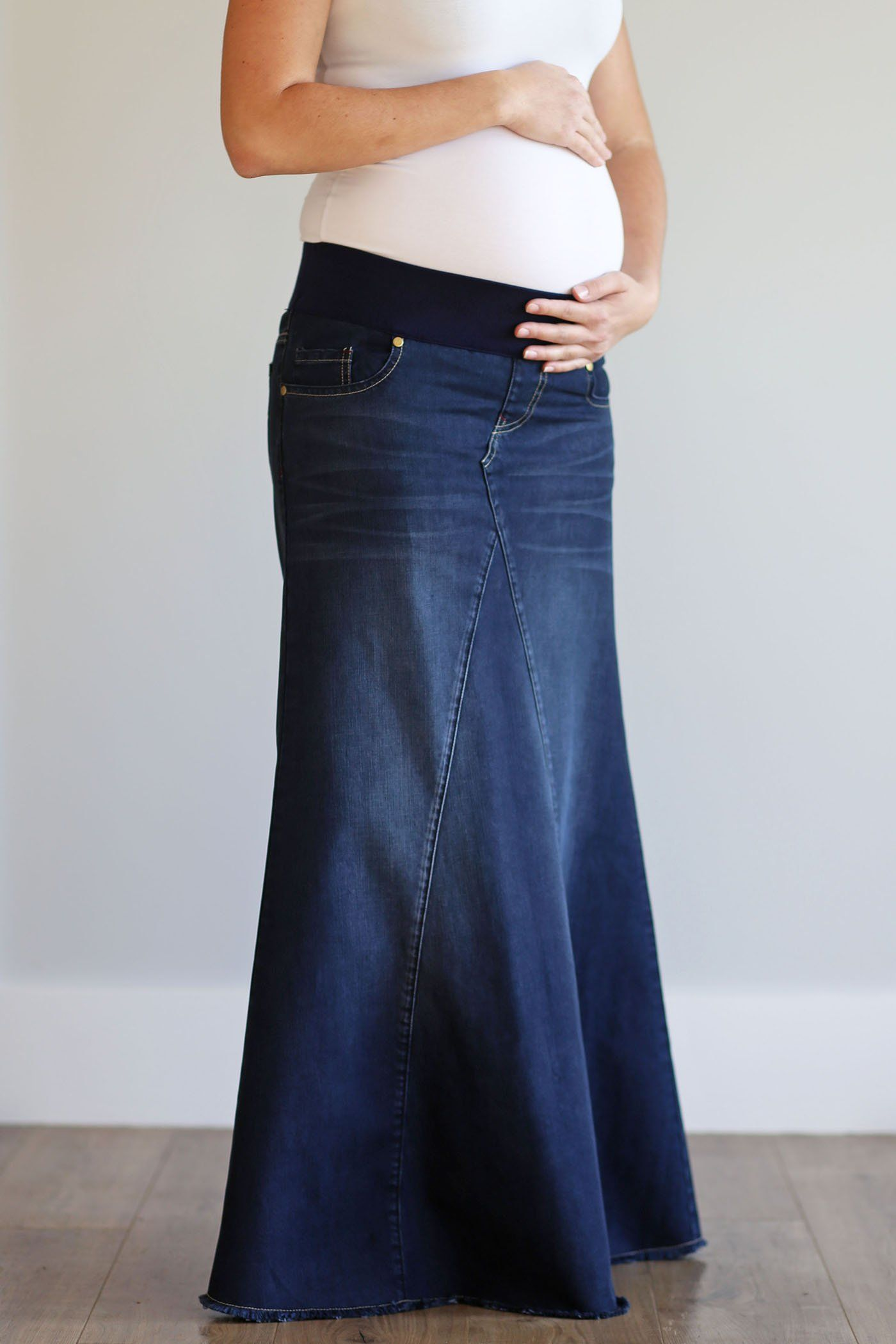 "Womens Jeans Skirt 23/"" Knee Length Stretch Size 8"