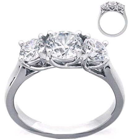 gabriel rings engagement three stone stones tallulah vintage wedding diamond round ring platinum