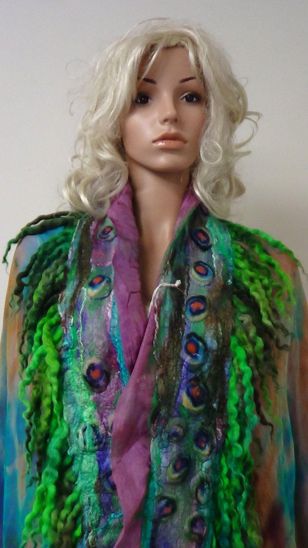Shawl,Peacock, Fairy, Nuno felted, Handmade, in USA, Felted art, Wearable art, Organic, Fashion accessory, Women top, Fiber art, Artistic by rafaelart on Etsy