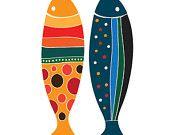 Colorful Fish Print Children decor, Kids Room, Wedding Birthday Anniversary Gifts