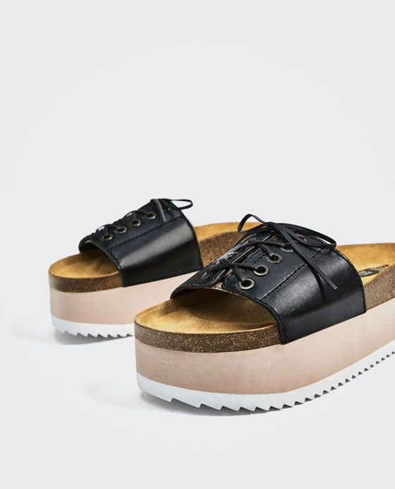 Zara Dan Bagcikli Deri Platform Dolgu Topuk Terlik Dolgu Topuk Sandalet Zara