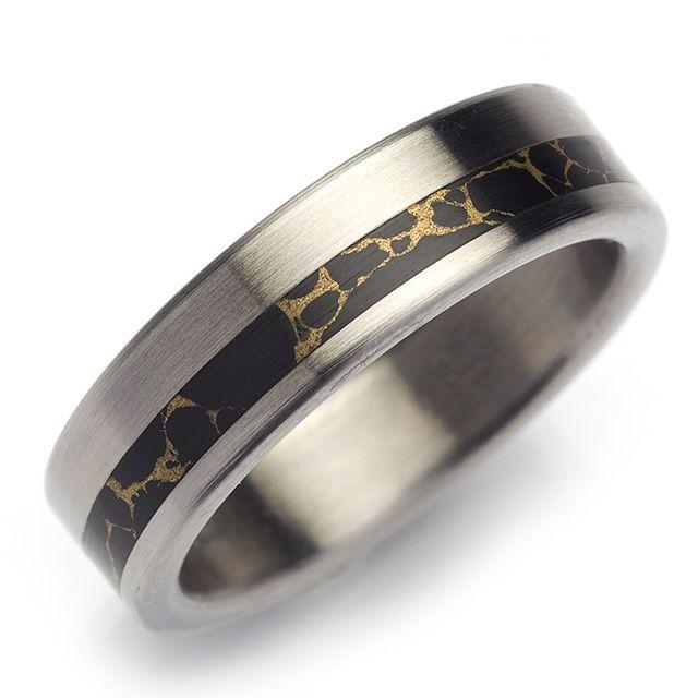 Anium Black Zirconium Gold Plated Wedding Band Br 580