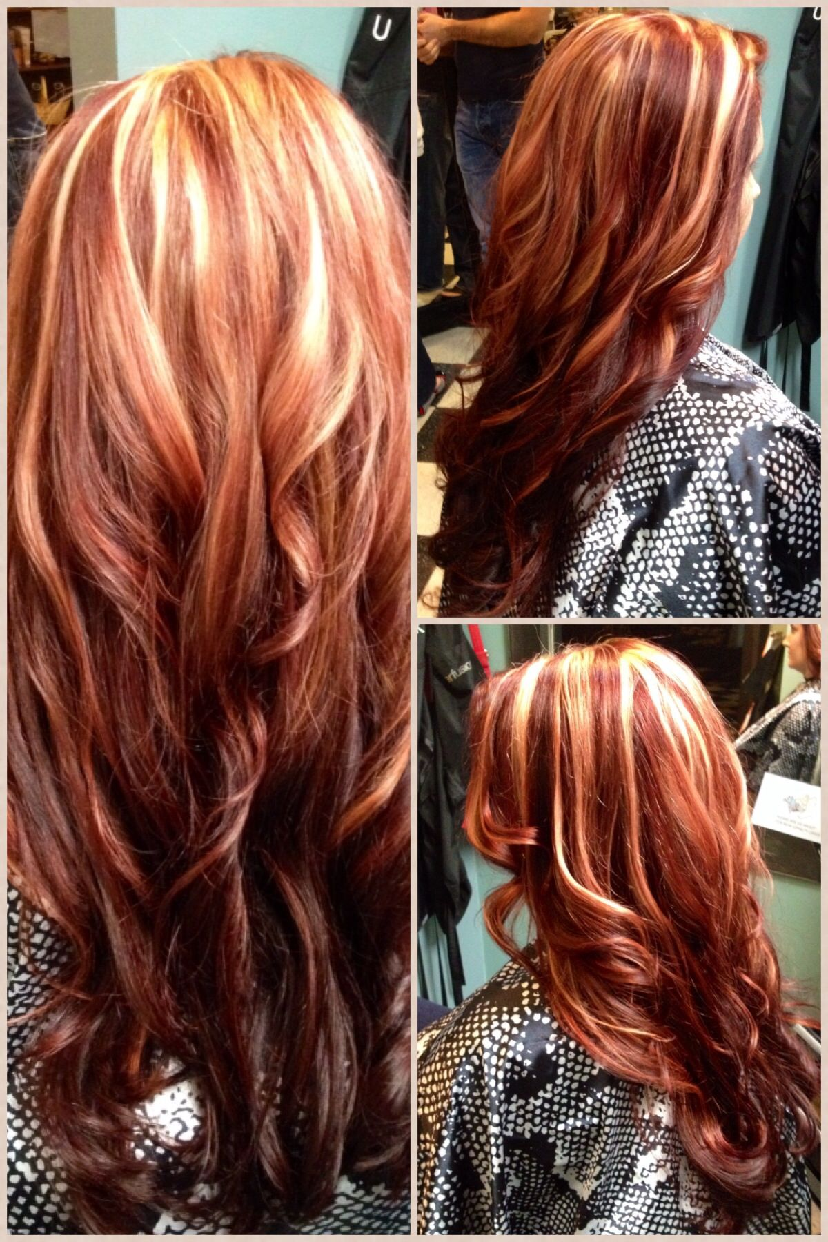 Red Hair Chunky Blonde Hilites Red Blonde Hair Magenta Hair Colors Red Ombre Hair