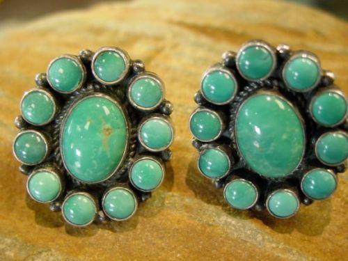Stunning Kirk Smith Navajo Post Teal Turquoise Earrings Good Price