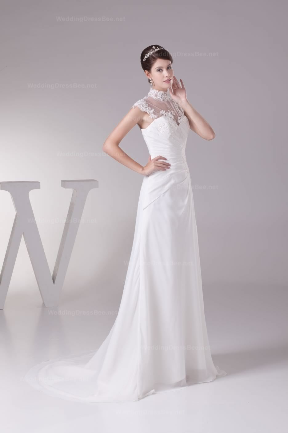 Graceful high neck lace appliques and pleats detail chiffon wedding