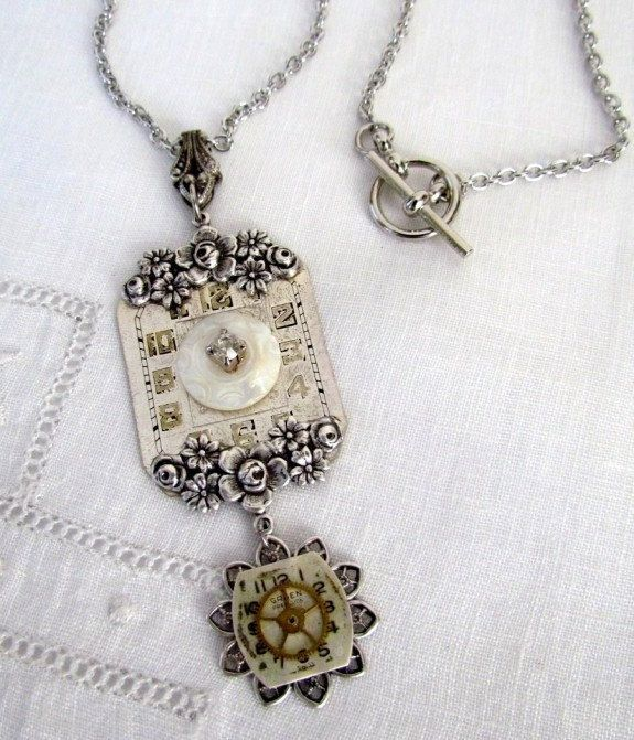 Steampunk necklace watch face pendant jewelry pinterest steampunk necklace watch face pendant aloadofball Gallery