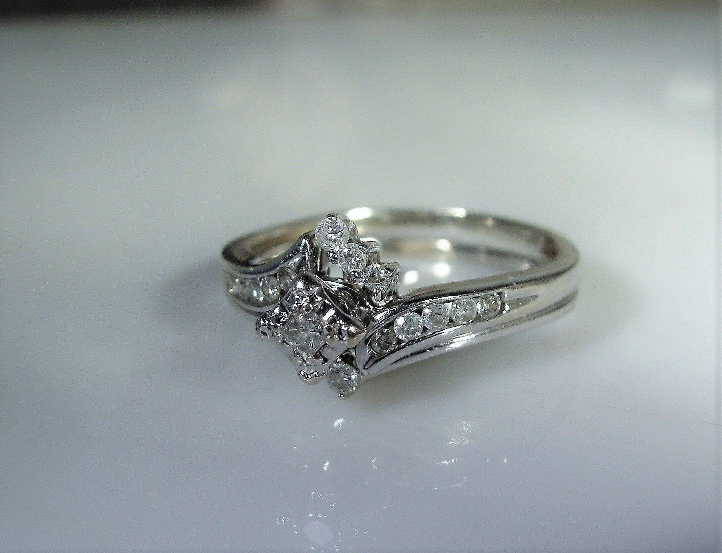 10k Bridal Ring Set White Gold Ring Petite Diamond Rings