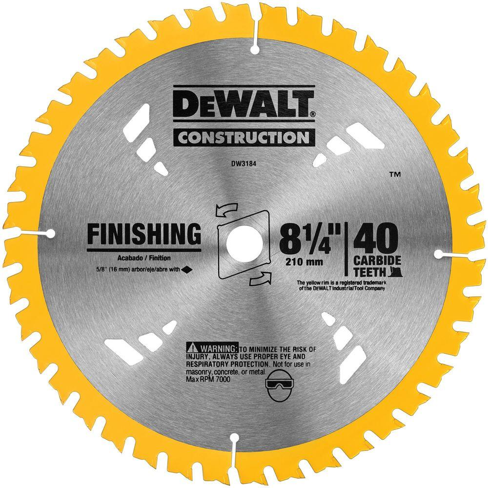Dewalt 8 1 4 In 40t Carbide Thin Kerf Circular Saw Blade Dw3184 The Home Depot Circular Saw Blades Dewalt Saw Blade