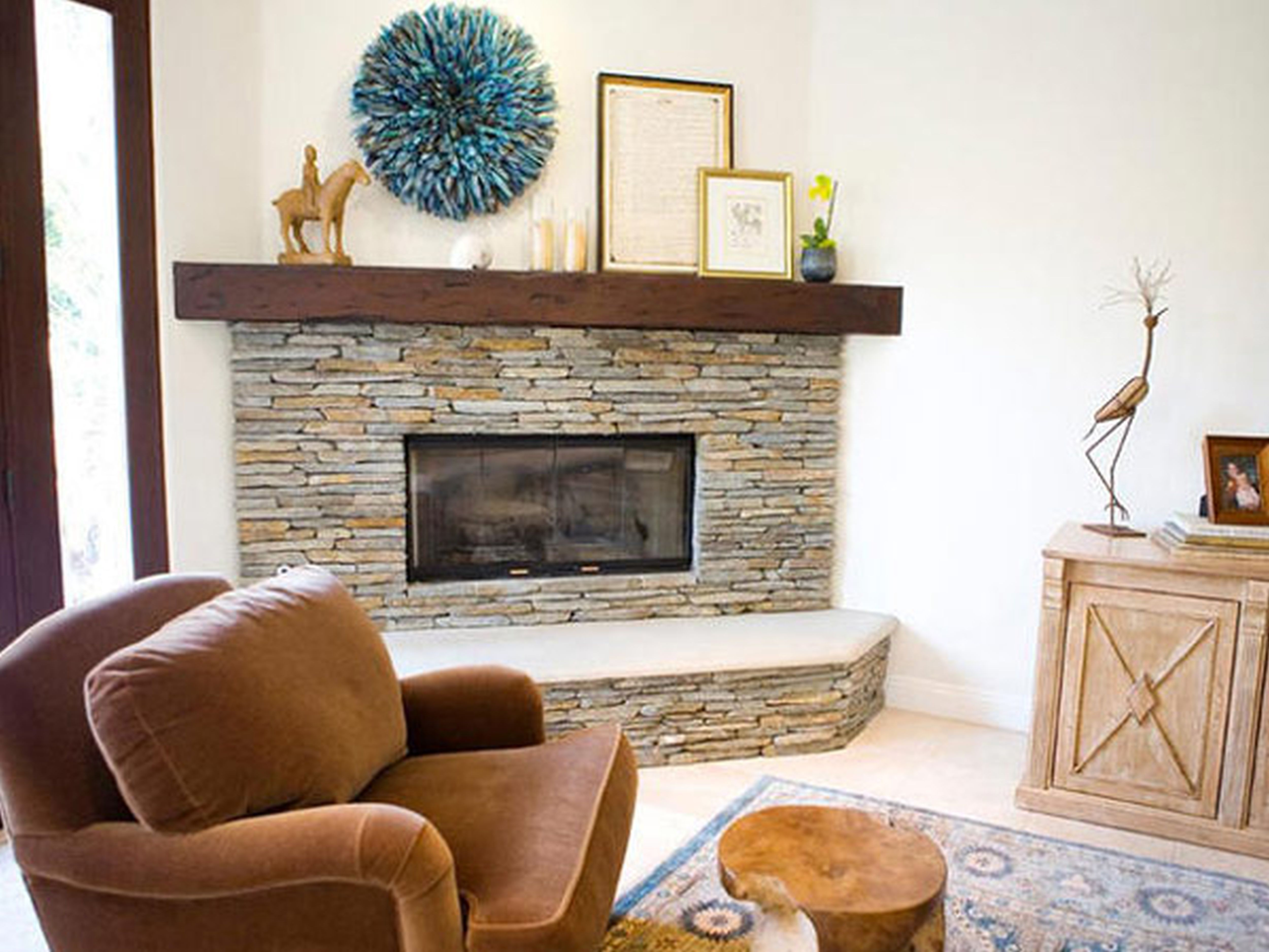 Stacked stone fireplaces and Stone firepla…