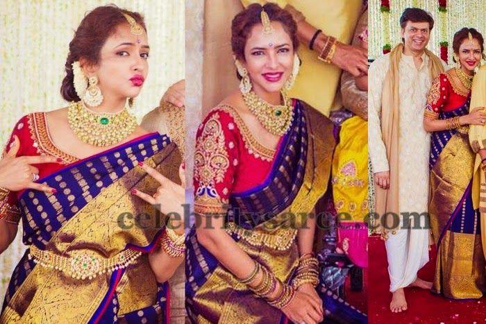 Telugu Actress Jyothi In Blue Salwar: Lakshmi Manchu Purple Gaurang Saree