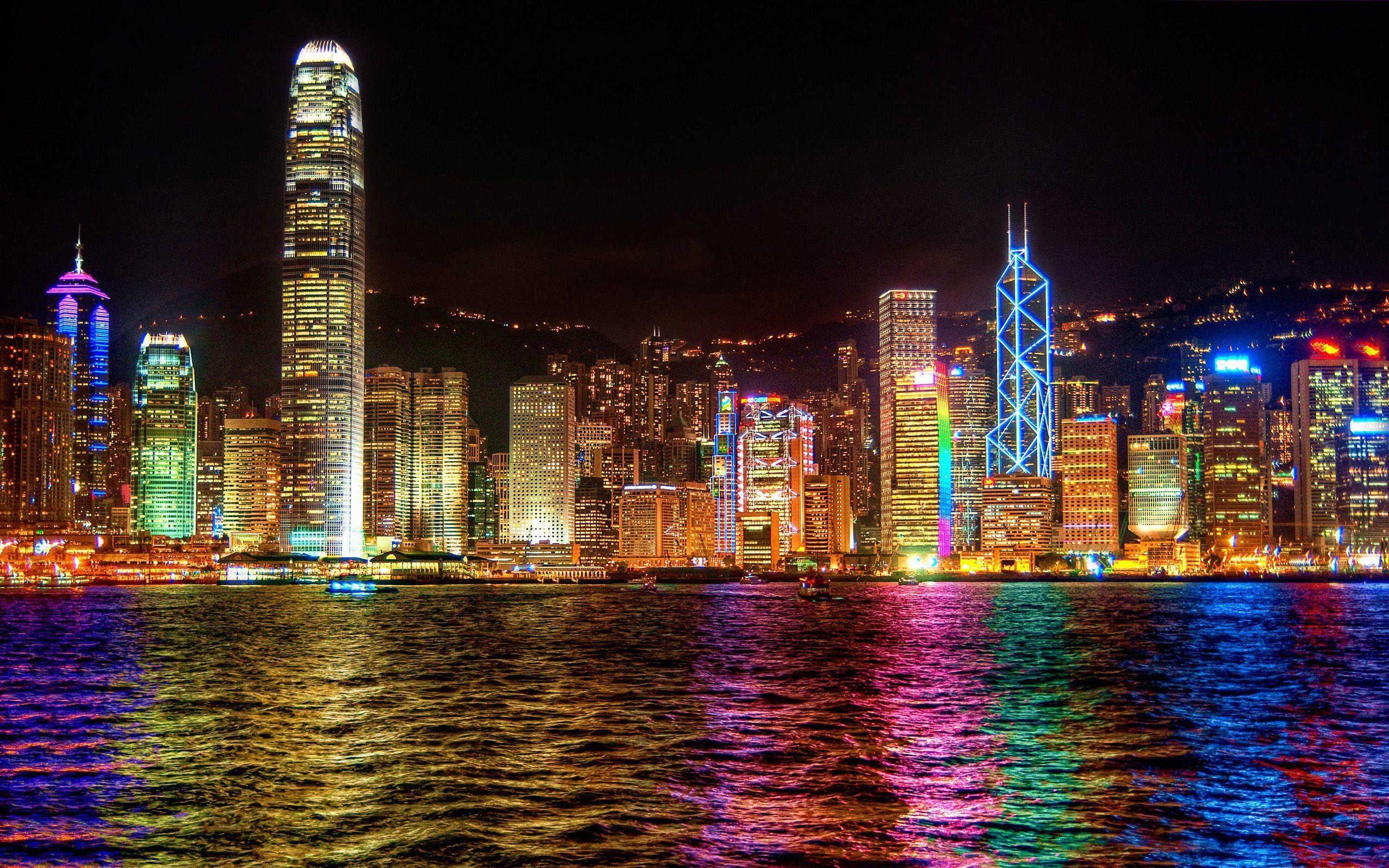 Hongkong City Night Skyline Hd Wallpaper 2560x1600px Hong Kong Night Skyline Paris At Night Skyline