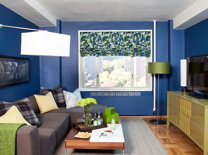 Modern Living Room Colors Blue blue wall decoration and grey corner sofa furniture in small