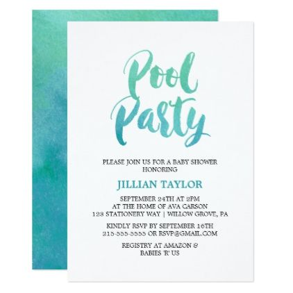 watercolor calligraphy pool party card birthday invitations diy