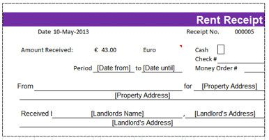 Rent Invoice In Excel  Rent Receipt Template