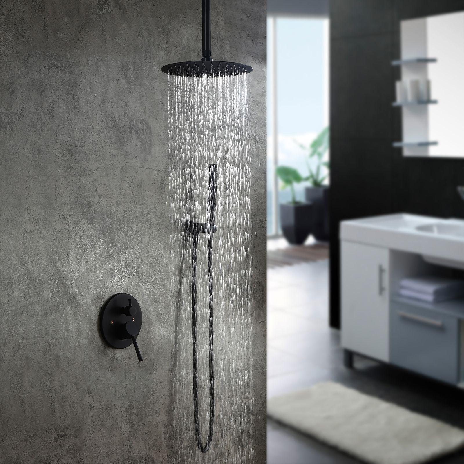 Round Rain Shower Head Shower 10 Combo System With Handheld Shower Matte Black In 2021 Rain Shower System Wall Mount Rain Shower Shower Systems [ 1600 x 1600 Pixel ]
