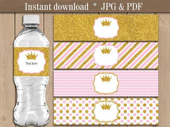Microsoft\u00ae Word Format Pink Gold Printable Princess Baby Shower Water Bottle Labels Digital File Baby Girl BSG01 EDITABLE text Roses